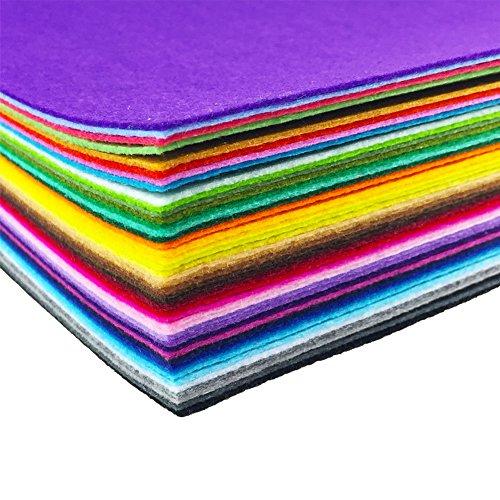 44sortierte, farbige Filzstoff-Blätter von flic-flac für Patchwork Nähen Selbermachen Basteln, 1mm dick, Filz, mehrfarbig, 20 x 30 cm