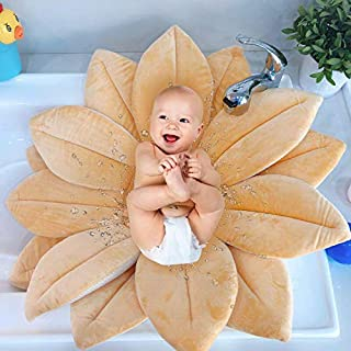 Baby Bath Flower Shape Bath Support - Yellow Soft Baby Bath Louts Use for Sink or Bathtub