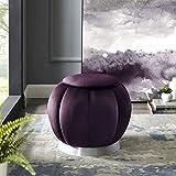 Nicole Miller Velvet Ottoman - Purple/Silver | Design: Javier | Upholstered | Channel Tufted