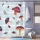 Cortina de ducha con ganchos de tela de poliéster larga para bañera, bañeras y bañeras impermeables de Organismos, diseño de setas, con clip