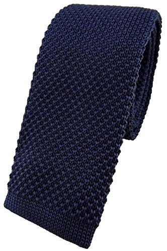 TigerTie hochwertige Strickkrawatte in marine dunkelblau einfarbig Uni - Modischer Look durch gerade abgeschnittene Unterseite