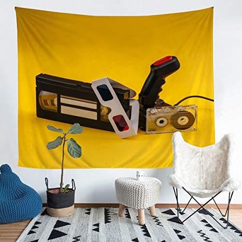 Loussiesd Tapiz para videojuegos Gamepad para niñas y niños, juego de pared, manta para colgar en la pared, novedad moderna para decoración de la habitación, manta de cama, color amarillo, 152 x 201