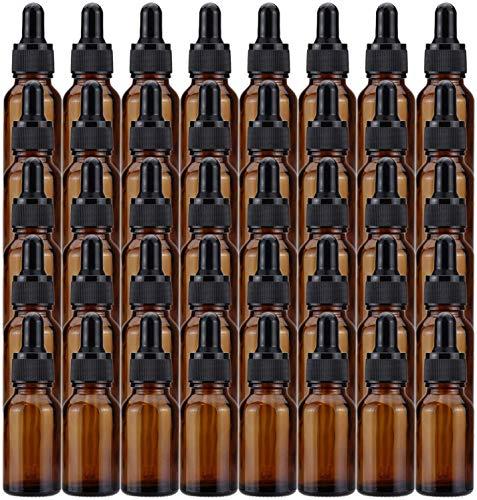 Lawei 40 botellas de cristal ámbar con cuentagotas de cristal para aceites esenciales, perfumes, aromaterapia, química de laboratorio, productos químicos – 15 ml