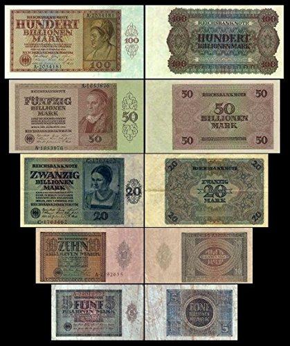 *** 5 - 100 Billionen Mark 5 Reichsbanknoten Feb/März 1924 - 1.+2. Ausgabe Pick 137 - 141 - Reproduktion ***