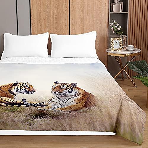 Chickwin Tagesdecken Bettüberwurf, 3D Tiger Drucken Sommer Tagesdecke mit Prägemuster Wohndecke aus Mikrofaser Bettdecke für Einzelbett Doppelbett oder Kinder (Steppentiger,230x260cm)