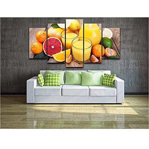 Mordern Schilderij Muur Kunst Foto's Home Decor 5 Panel Poster Fruit Sap HD Gedrukt Op Doek Voor Woonkamer 30x50 30x70 30x80cm frameless