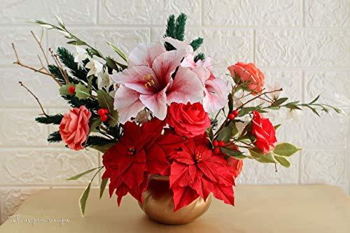 Centro de mesa navideño - Centro de mesa con flores de pasc