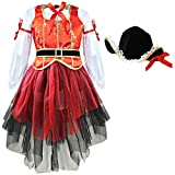 IEFIEL Disfraces de Princesa Pirata para Carnaval Vestidos de Fiesta con Sombrero para Niña Rojo 2-3 Años