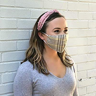 Premium Fabric Face Mask Reusable, Washable, Cotton/Poly/Polypropolene Blend, Double Layer, Protects from Respiratory Droplets, Dust, Other Airborne Irritants, Contoured Design (Plaid)