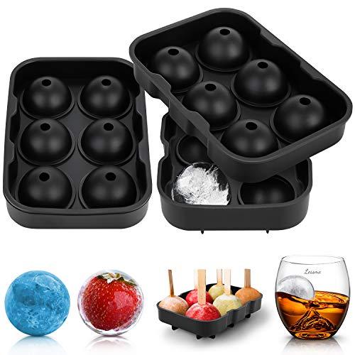 LessMo Eiswürfelform Rund, 2 Packungen Silikon XXL Eiswürfelformen mit Deckel für Whisky, Cocktails und Wein - Flexibel, BPA-Frei und FDA-Zugelassen, Schwarz