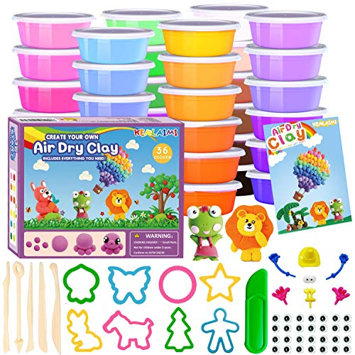 Kenlaimi Air Dry Clay Kit, 36 Colors Modeling Clay for Kids, Soft & Stretchy Magic Clay in Sealed Box, Include Clay Tools, Molds, Accessories, Kids Crafts Gift for Boys & Girls Age 3-12 Year Old