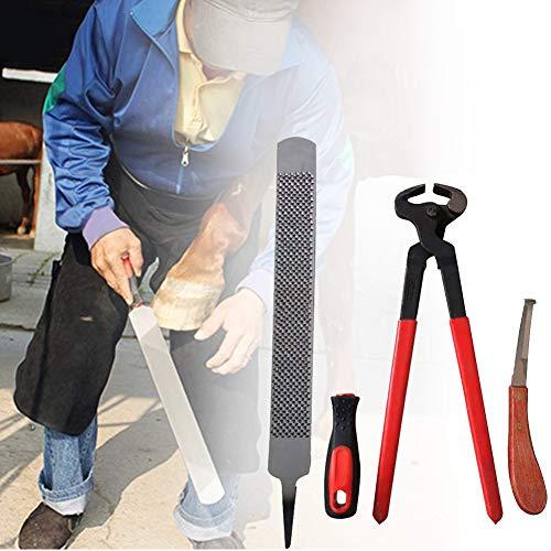 PETAMANIM 3Pcs Pferde Hufbearbeitung Werkzeuge, Professional Horse Farrier Rasp Nipper und Ausstecher, Pferde Huf Reinigungs-Zubehör