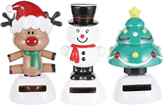 Holibanna Christmas Car Ornament Solar Powered Dashboard Toys Swing Xmas Tree Deer Snow Man 3pcs (Random Base Color)