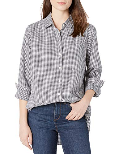 Goodthreads Seersucker Long-Sleeve Side-Button Shirts, Navy and White Gingham, XS