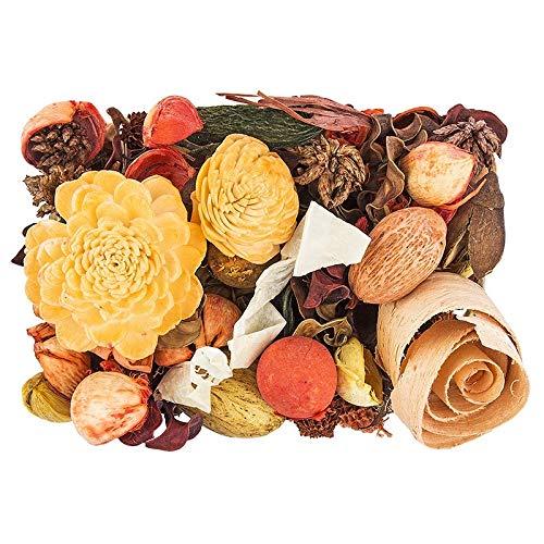 Edel-Potpourri | Deko-Set | 200 g | verschiedene duftende Blüten, Zweige, Deko-Elemente (Orange)