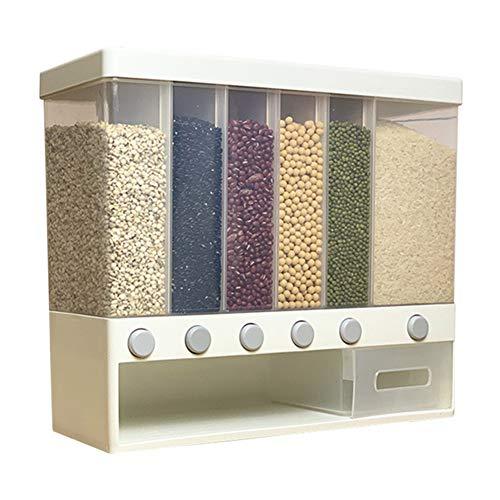 Acutty Dispensador de alimentos secos montado en la pared, cubo de arroz, múltiples compartimentos, caja de almacenamiento de dosificación automática contenedor de granos sellado