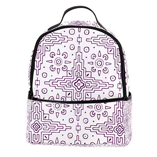 KAMEARI Rucksack für die Schule, violett, Kreuzform, Labyrinth, Tagesrucksack für Reisen, mit Seitentaschen für Flaschen