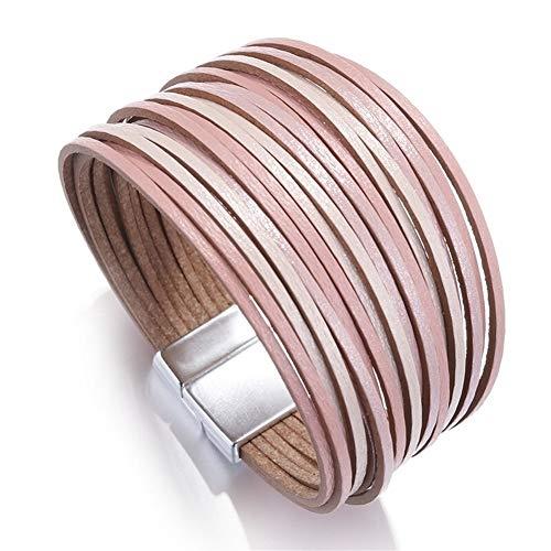 ROTAKUMA Pulseras De Cuero For Las Mujeres Señoras Delgadas Tiras De Joyería De Múltiples Capas De La Pulsera del Abrigo Ancho Femenino Regalo (Metal Color : Pink)