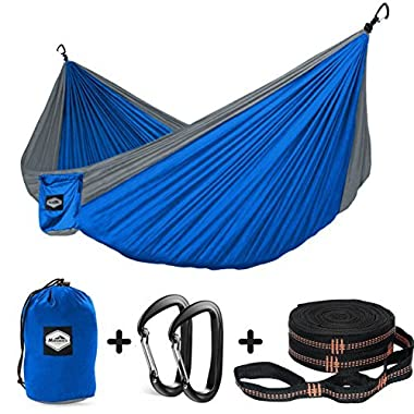Nordmiex Double Camping Hammock with Tree Straps - Portable Parachute Hammock for Two Persons,Include 9' Heavy Duty Hammock Tree Straps and Premium Aluminum Carabiners,118 (L) x 78 (W)