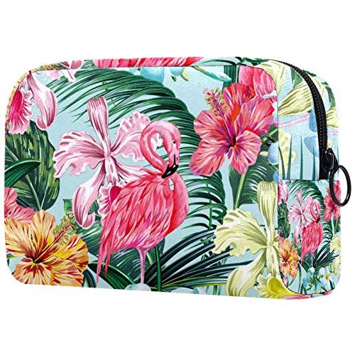 FURINKAZAN Flamingo Floral Pattern Travel Makeup Bag for Toiletries Bag Makeup Pouch Men & Women