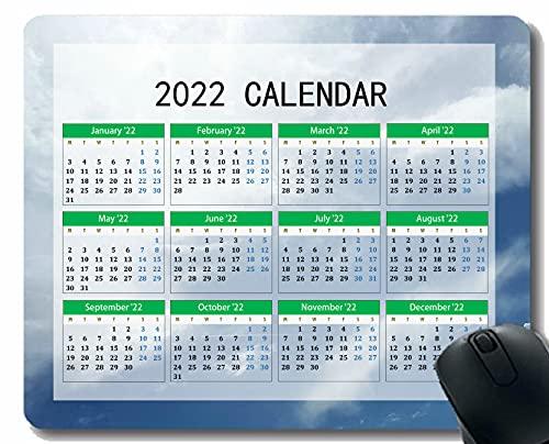 Gaming Mouse Pad 2022 año Calendario con Vacaciones, Nubes de Cielo Light Desktop Cuaderno Alfombrilla de ratón para Trabajar y Juegos