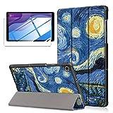 LYZXMY Funda + Protector Pantalla para Lenovo Tab M10 HD (2nd Gen) 10.1' TB-X306F / TB-X306X - Vidrio Templado, Carcasa Silicona Tablet Cover con Soporte Función Caso PU Flip Case - Sky