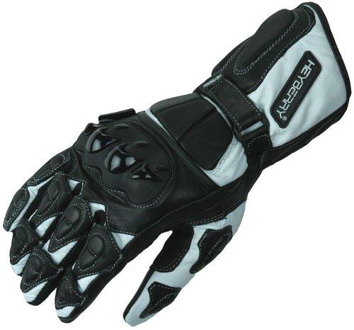 HEYBERRY Motorradhandschuhe Leder Motorrad Handschuhe schwarz weiß Gr. L