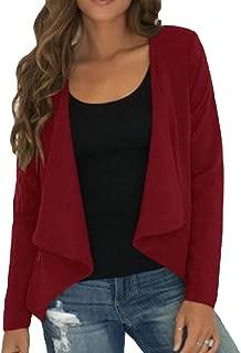 Fllay Womens Fall Open Front Lapel Long Sleeve Loose Cardigan Blazer Jacket