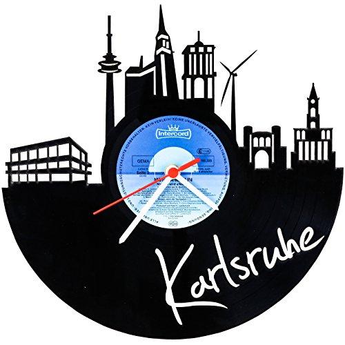 GRAVURZEILE Skyline Karlsruhe Wanduhr aus Vinyl Schallplattenuhr Upcycling Design Uhr Wand-Deko Vintage-Uhr Wand-Dekoration Retro-Uhr Made in Germany