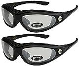 Choppers - Pack de 2 gafas de sol con acolchado acolchadas motero unisex hombre mujer moto bici - 1x Modelo 02 (negro / casi transparente) y 1x Modelo 02 (negro / casi transparente) - Modelo 02 + 02 -