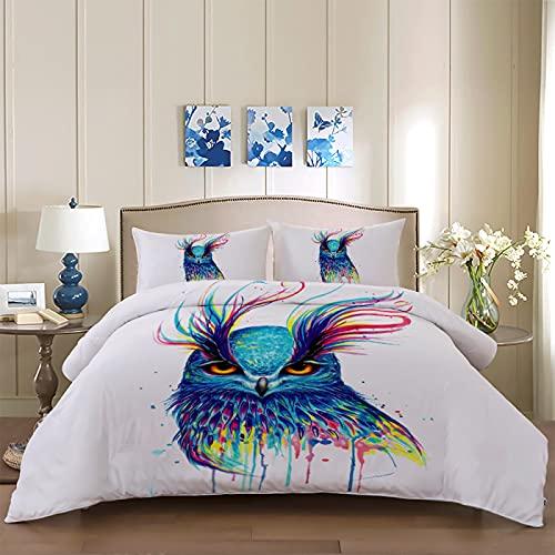 dsgsd Juego de Funda nórdica para niños Moda arte colorido pájaros 150x220cm Funda de edredón...