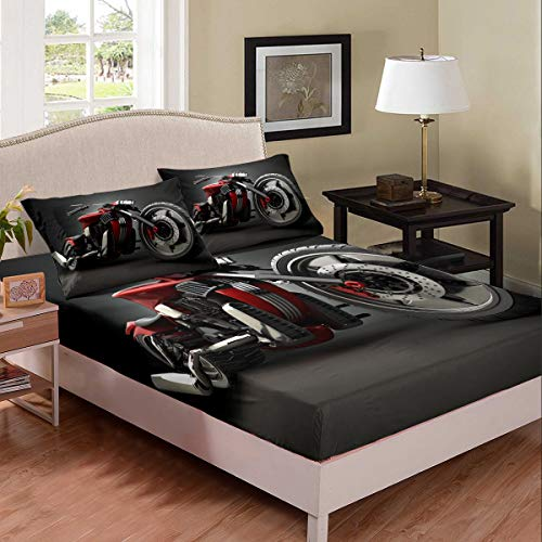 Tbrand Juego de sábanas de motocross con diseño de patrón de motocicleta para niños, niñas, adolescentes, decoración de dormitorio, funda de cama para cama doble, tamaño doble