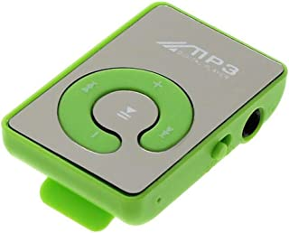 Portable MP3 Player, Mini Clip USB MP3 Player Music Media Support Micro SD TF Card Fashion HiFi MP3 for Outdoor Sports,Green