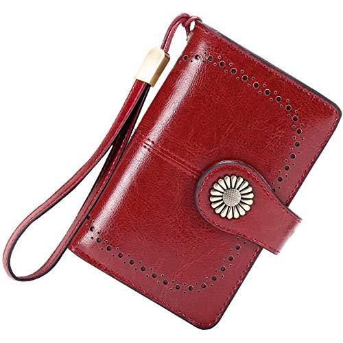 TEUEN Geldbörse Damen Mittel Viele Fächer Leder Portemonnaie Frauen mit Grossem Münzfach, Damengeldbeutel Reißverschluss mit 11 Kartenfächer 2 Fotos Ledergeldbörse Damen RFID Schutz (Rot)