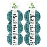 HANSA-FARM 100% Lana de Alpaca en más de 50 Colores (no Pica) - Set de 300g (6X 50g) - Suave Hilo Baby de Alpaca para Punto y Ganchillo en 6 grosores Verde Azulado