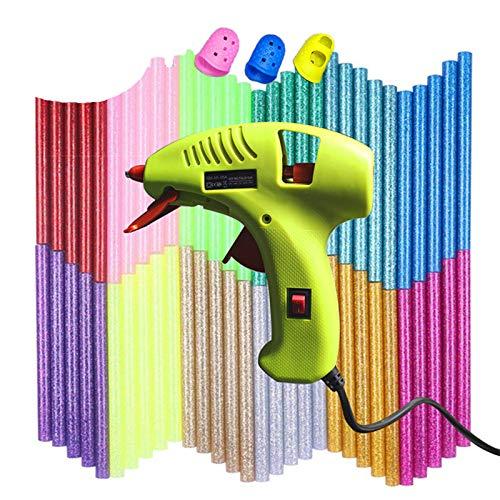 NEX&COミニグルーガンセット カラーフルグルースティック60本付属 安全低温 LEDインジケーター スイッチ付き グリーン 小型 ボンドガン DIY/小型工芸品用/家庭用/学校用