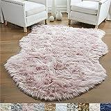 GORILLA GRIP Original Premium Faux Sheepskin Fur Area Rug, 2x4, Softest, Luxurious Shag Carpet Rugs for Bedroom, Living Room, Luxury Bed Side Plush Carpets, Sheepskin, Dusty Rose