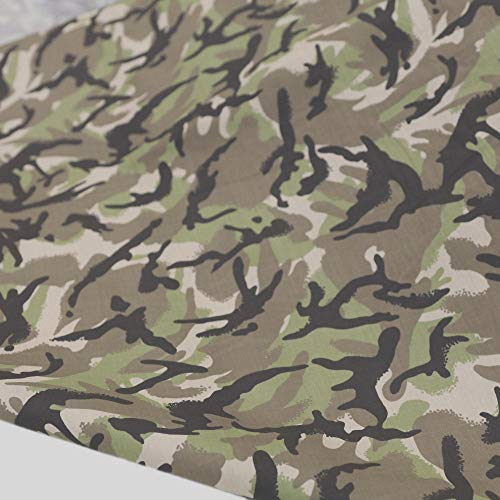 TOLKO Camouflage Stoff aus Baumwolle | Robust, Farbecht und UV-beständig | Uniform Meterware im All Terrain Armee Flecktarn | mittelschwer 145cm breit (All Terrain)