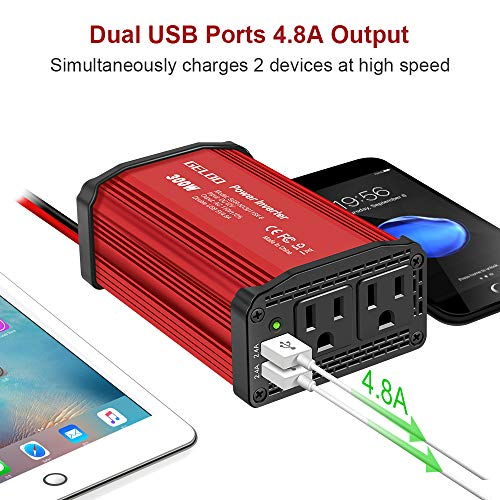 GELOO 300W Power Inverter, DC 12V to 110V AC Car Power Converter with 4.8A Dual USB Ports Car Charger Adapter (Red)