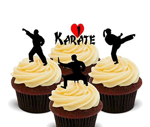 Made4You I Love Karate Essbare Cupcake Topper–Stand-Up Wafer Kuchen Dekorationen, 24er-Pack