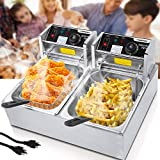 Commercial Deep Fryer Countertop for Home with 2 x 6.34 QT Removable Tanks and Baskets, Electric Double Deep Fryer Large...