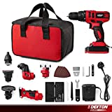 Dekton 7 in 1 Keyless Cordless Drill/Reciprocating Jigsaw Saw/Angle Grinder/Detail Sander/Impact Driver/Oscillating Multi-Tool with 33 Accessories and Carry Bag