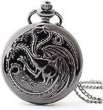 ETRVBSWE Reloj de Bolsillo con Cadena - Tema Caja Trasera Lisa B Caja Vintage Reloj de Bolsillo de Cuarzo con Cadena + Caja de Regalo