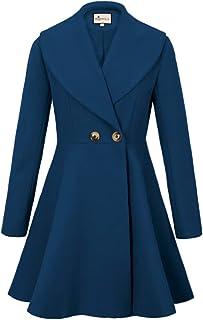 d2d450234e4 K Women s Wool Trench Coat Lapel Wrap Swing Winter Long Overcoat Jacket