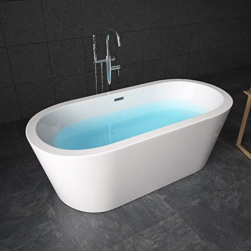 Tronitechnik Freistehende Badewanne Piper 168 x 80 x 60 - Wanne aus Acryl mit Siphon/Ablaufgarnitur in weiß Luxus Badewanne im Nostalgielook