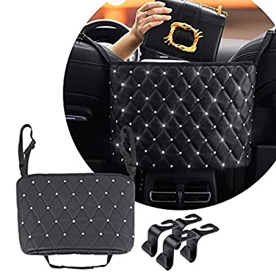CCICITA Car Handbag Holder Between Seats, with 4 Seat Back Hooks, Car Front Seat Leather Organizer and Storage with Diamond, Tissue Holder, Purse Holder for Car, Bling Car Accessories for Women
