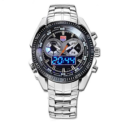 FENKOO TVG Armbanduhren TVG Uhr Herren Militäruhr wasserdicht LED Doppelanzeige leuchtenden Sportuhr Stahlgürtel KM468 (Color : 1)