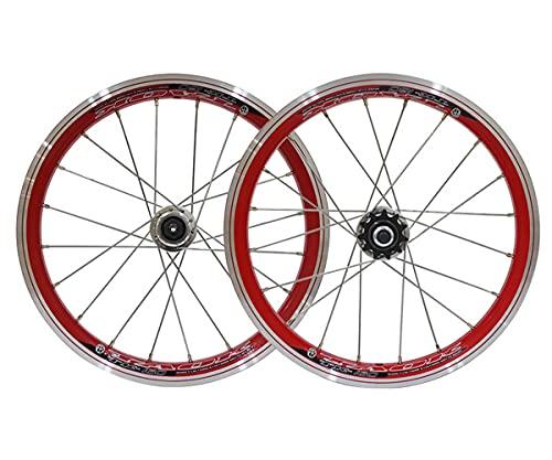 LSRRYD Set Di Ruote Da Bicicletta 16 Pollici Volano Morto A Velocità Singola 20 Fori Cerchio Da V Brake Mozzo Sgancio Rapido 11T Adatto Scatto Fisso Per Biciclette Per Bambini BMX Biciclette Pieghevol