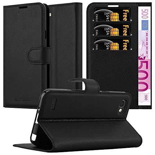 Cadorabo Hülle für LG Q6 in Phantom SCHWARZ - Handyhülle mit Magnetverschluss, Standfunktion & Kartenfach - Hülle Cover Schutzhülle Etui Tasche Book Klapp Style