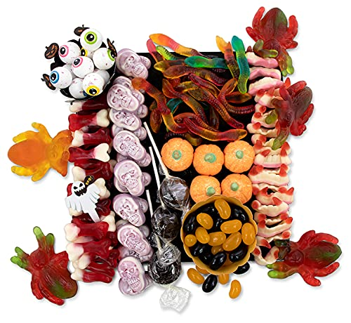 Halloween Sweets for Kids Horrible Sweet Treat Charcuterie Board (USA Candy Board) of Yummy Spooky Nasty Chewy Sucky Gummy Sweets with How To Assemble Instructions and Treat Bags x 10 (with ties)